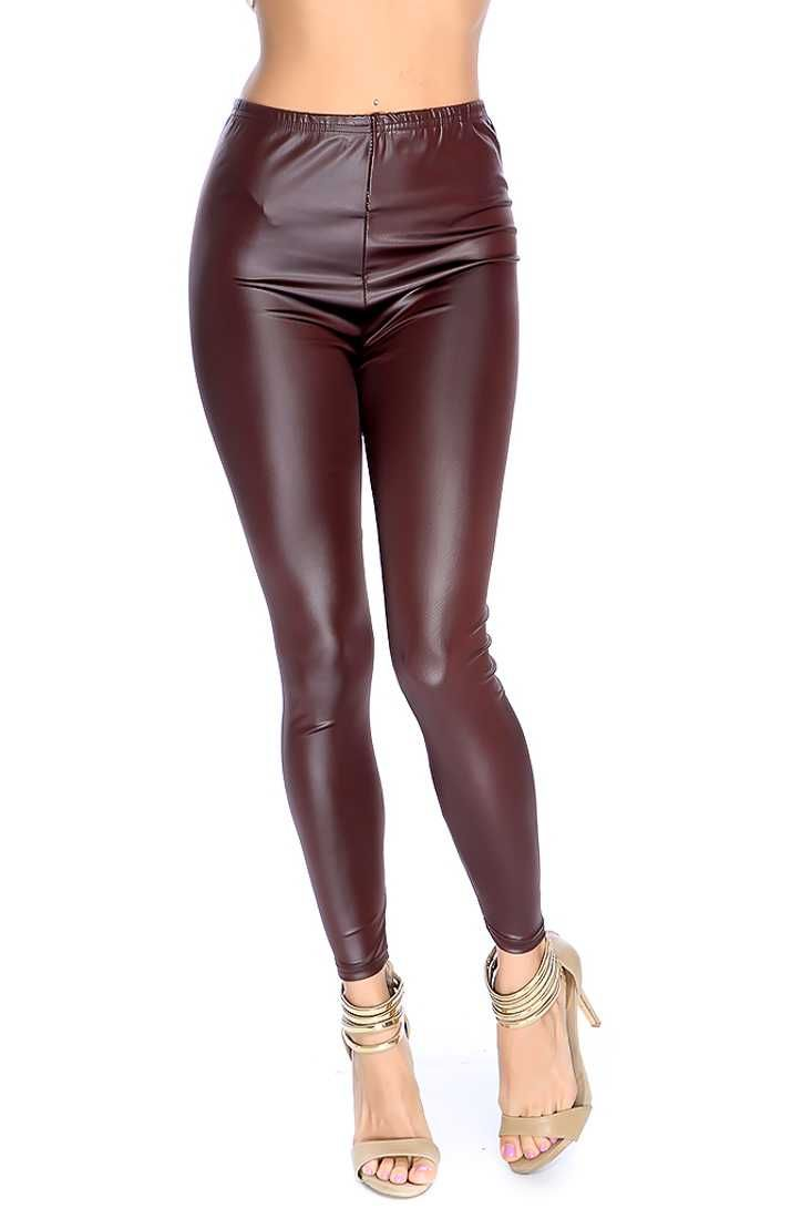 #FashionVault #kandy kouture #Women #Lingeries - Check this : Brown Faux Leather Leggings for $24.99 USD