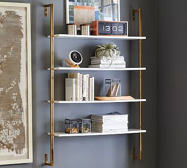Marvelous Olivia Wall Mounted Shelves, Wall Shelf, Pottery Barn, Brass And White