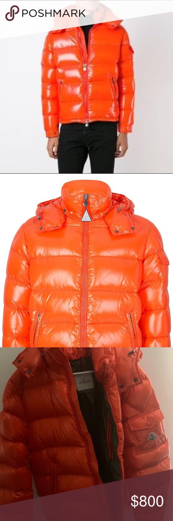 a1c1019366ba Moncler orange coat Used moncler orange coat . Has small mark on it ...