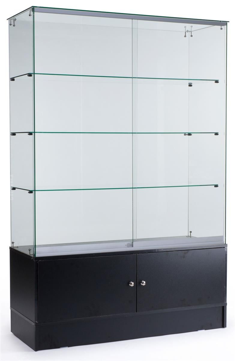 """Glass Display Cabinet Showcases: 48"""" Glass Display Case W/ Sliding Doors, Base Cabinets"""