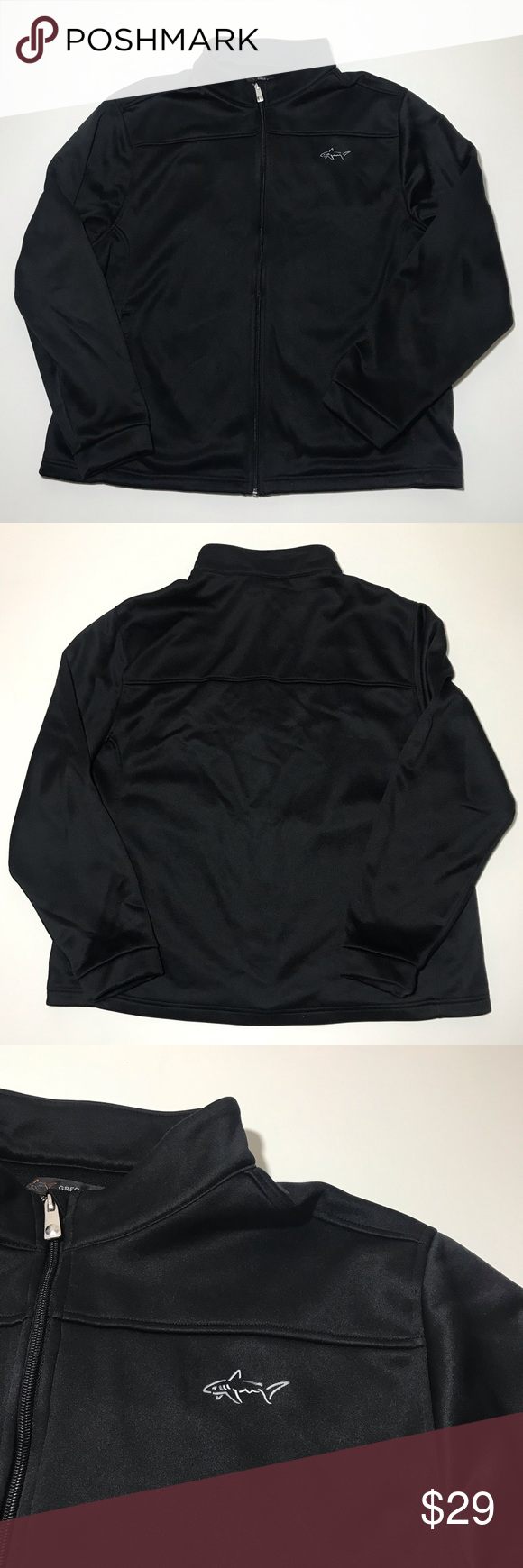 Greg Norman Black Full Zip Sweater Jacket Size Xl In 2020 Sweater Jacket Zip Sweater Jackets