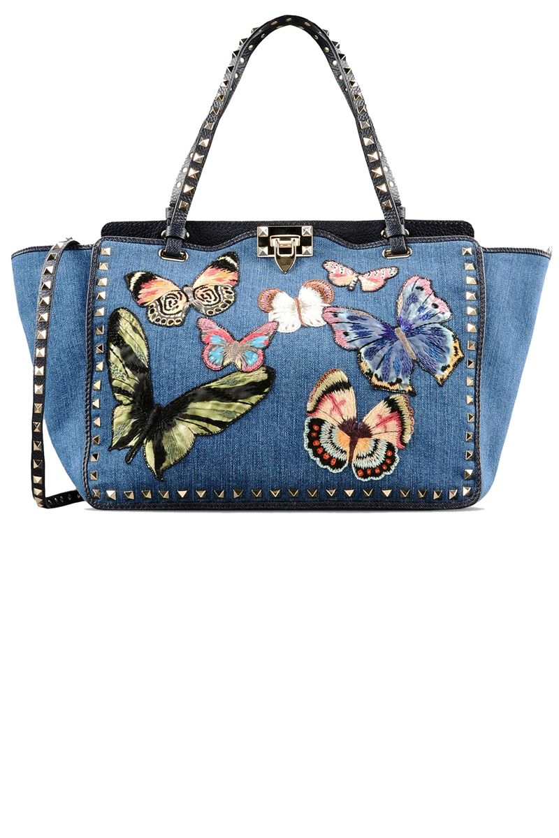 28da1bea4a5 For Fun Denim Handbags, Studded Handbags, Studded Purse, Blue Handbags, Valentino  Purse