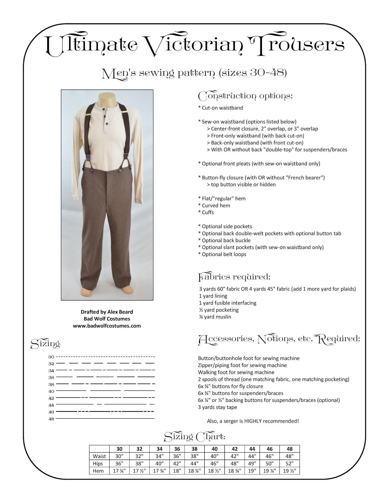 Bad wolf costumes ultimate victorian trousers sewing pattern bad wolf costumes ultimate victorian trousers sewing pattern jeuxipadfo Image collections