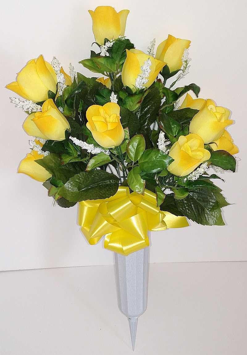 Round rosebud cemetery vase yellow 24 inch cemetery flowers round rosebud cemetery vase yellow 24 inch reviewsmspy