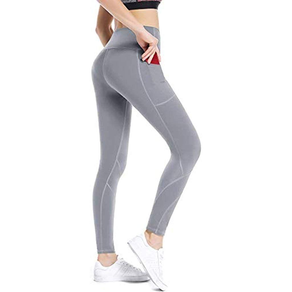 Damen Hohe Taille Yoga Gym Fitness Jogging Hose Leggins Athletisch Sporthose