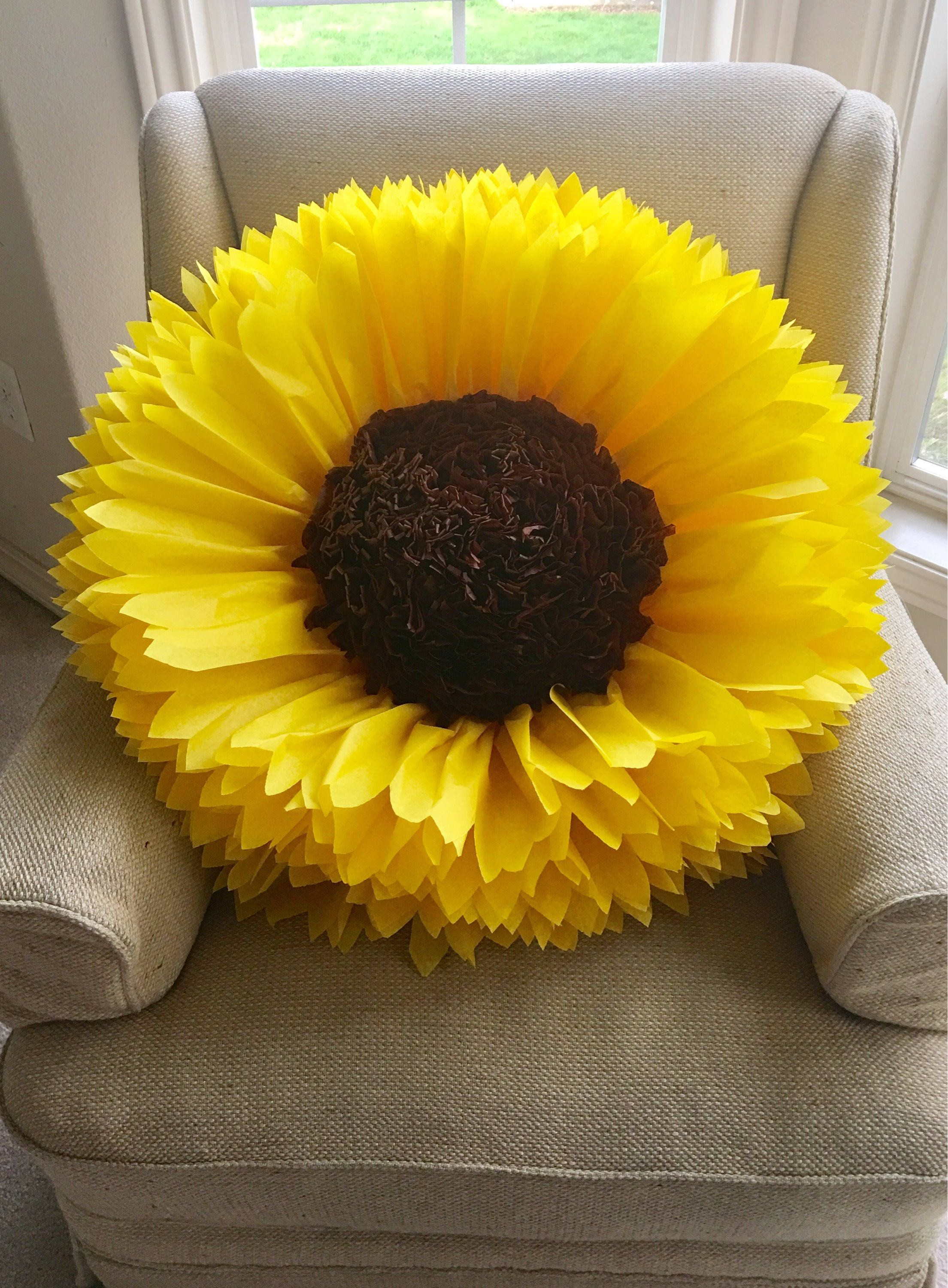 Giant 30 Sunflower Tissue Paper Flower Nursery Decor Bridal
