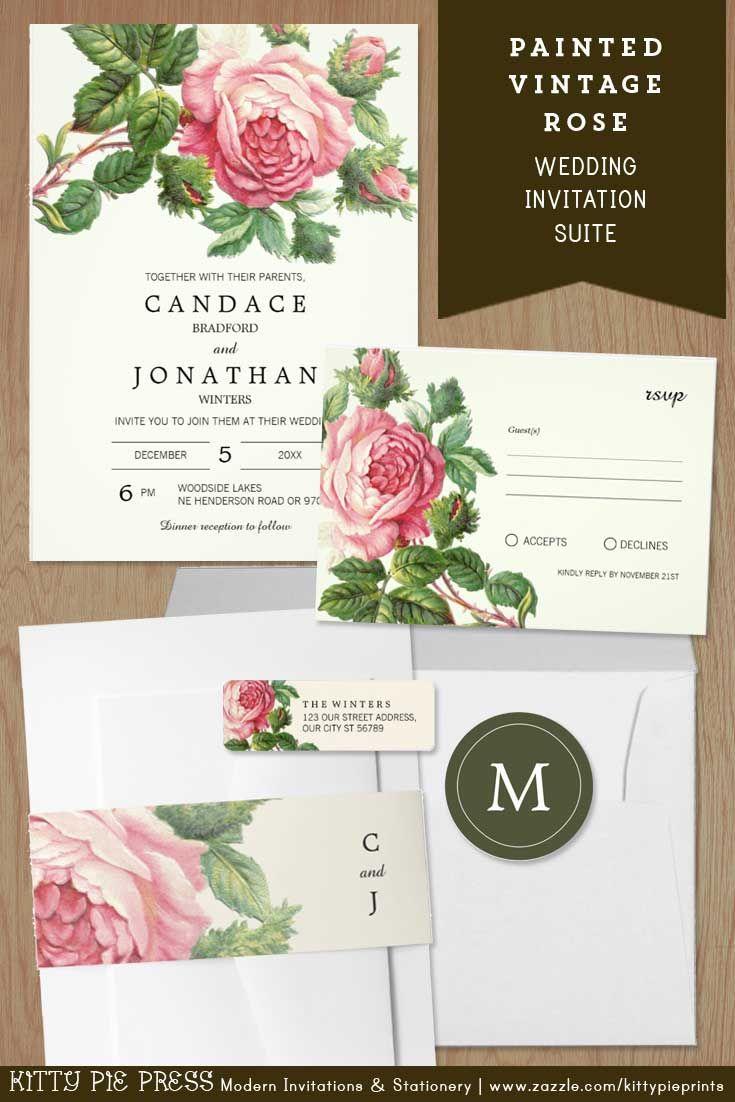 Painted Vintage Rose This elegant rustic wedding invitation set ...