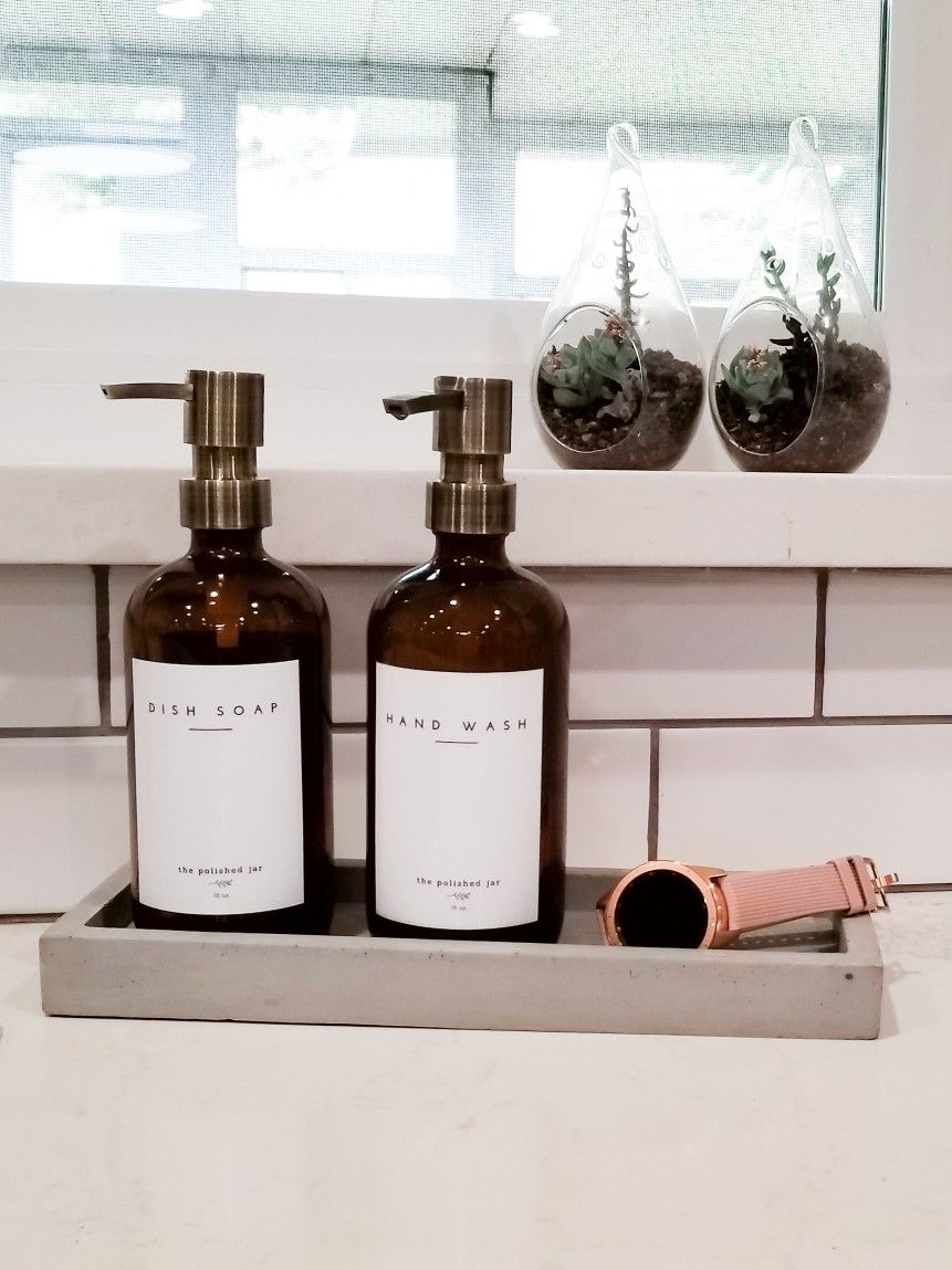 These Amber glass soap bottle dispensers for dish soap and ...
