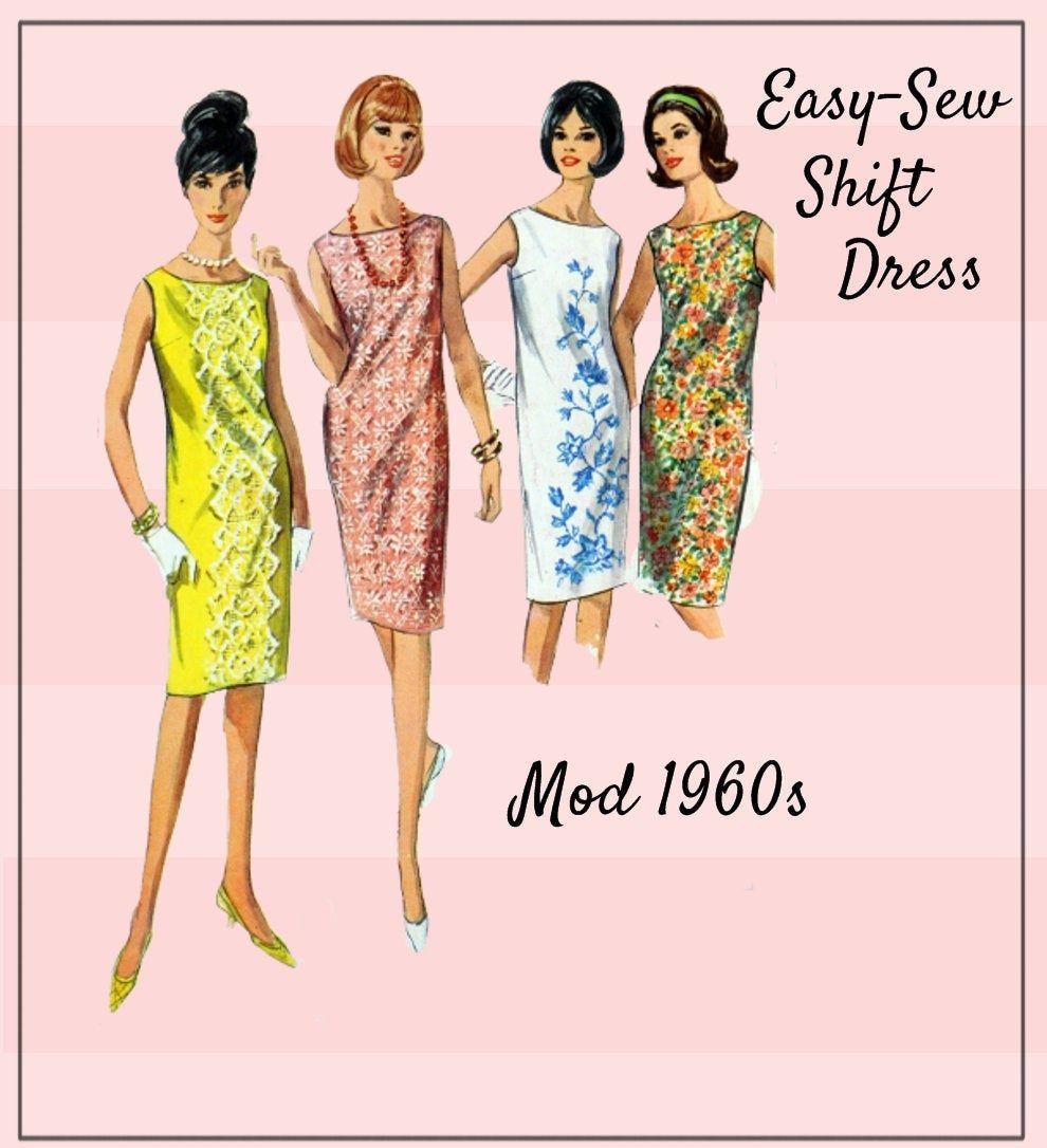 Simplicity 5980 Easy Sew Mod Shift Dress Vintage 1960s Etsy Shift Dress Dresses Easy Sewing [ 1086 x 990 Pixel ]