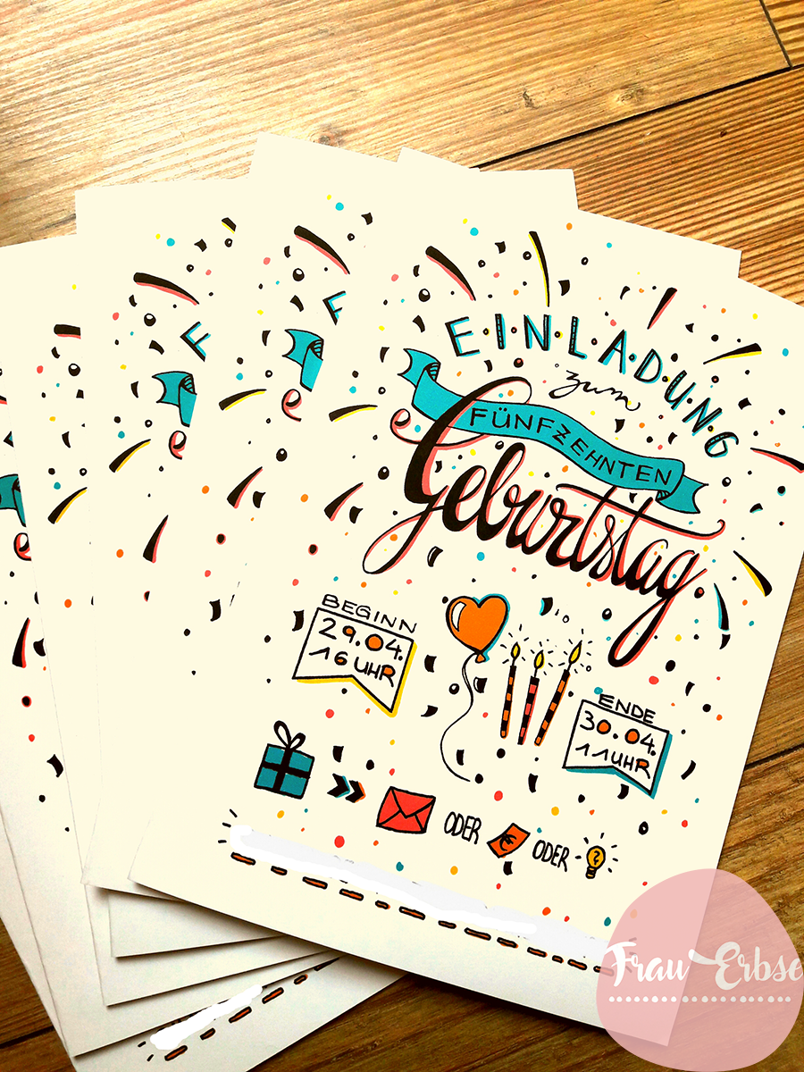 Einladungskarte Kindergeburtstag Lettering Handlettering Doodle