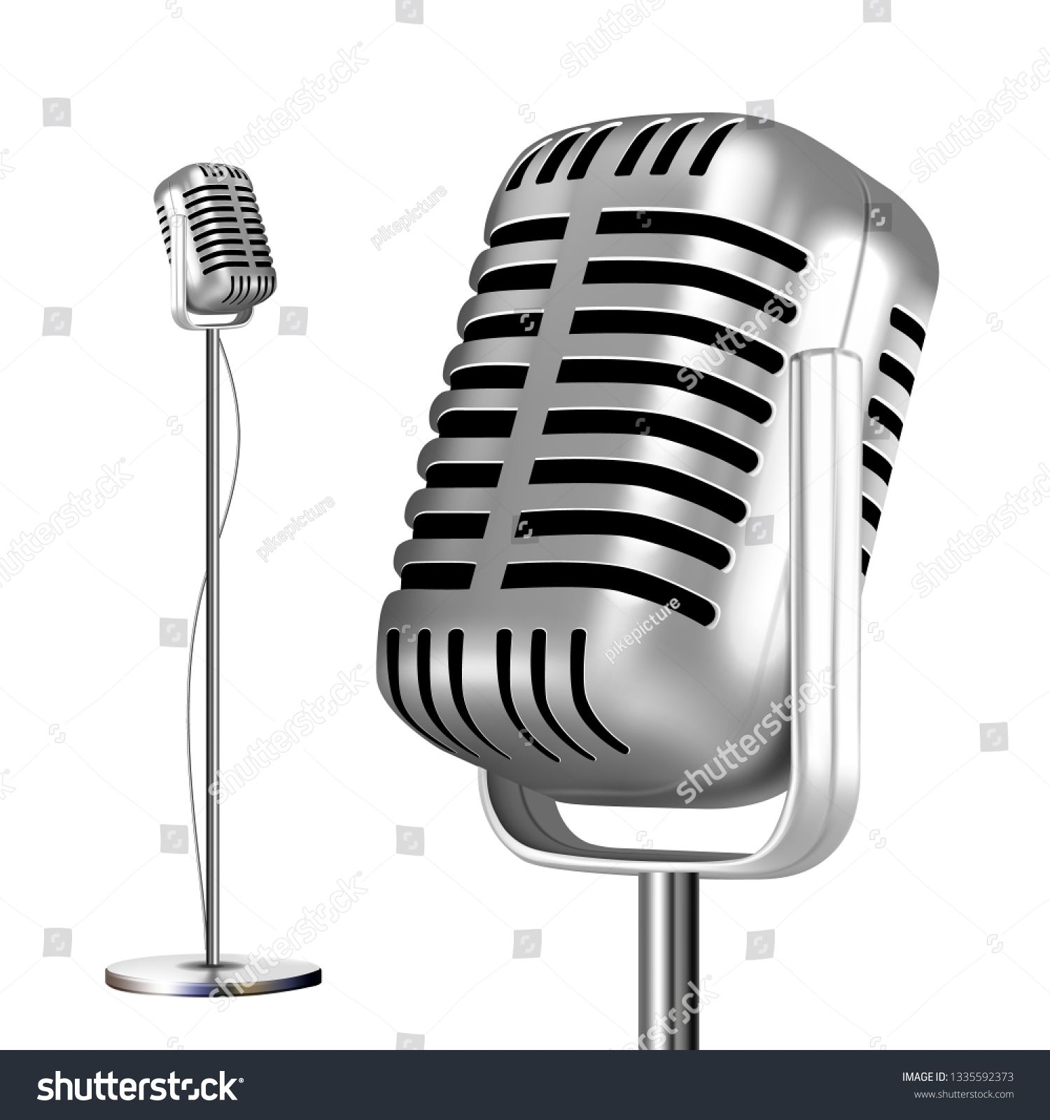 Retro Metal Microphone With Stand Vector Chrome Music Icon Vintage Concert Audio Communication Illustration Spon With Images Social Media Design Graphics Retro Metal