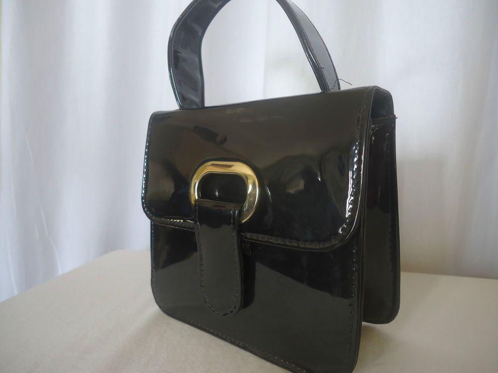VINTAGE 1960s BLACK PATENT LEATHER MacLaren HANDBAG UPRIGHT BOX ...