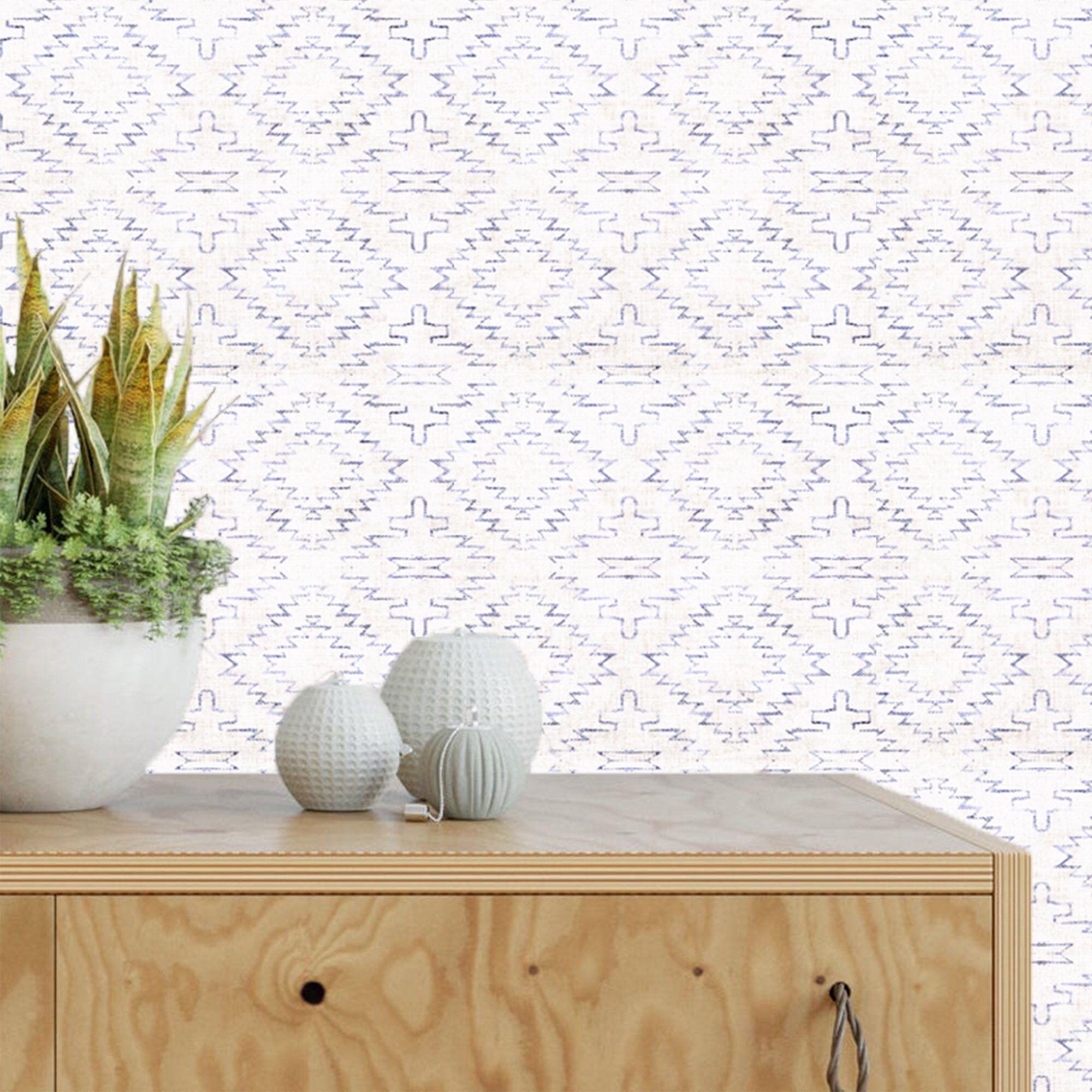Navy White Ikat Wallpaper Removable Modern Wallpaper Peel