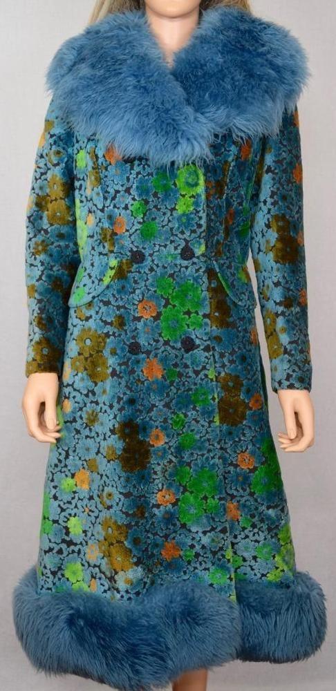 Vtg 1960 S Chenille Carpet Flower Tapestry Shearling Trimmed Hippie Boho Coat Onlyhasunionlabelleftinside Boho Coat Hippie Boho Fashion