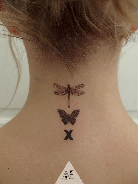 Discreet dotwork butterfly and dragonfly on the nape by Axel Ejsmont.