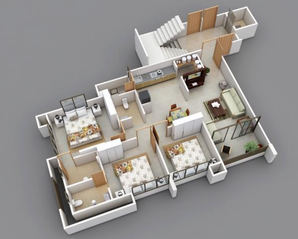 25 Three Bedroom House Apartment Floor Plans Apartment Floor Plans Floor Plan Design 3d House Plans