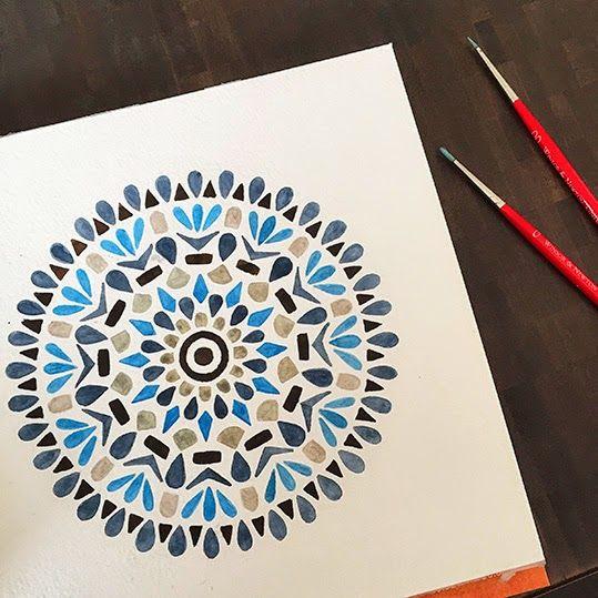 Blue mandala Art by Claudia Calderas dibujos a lapiz faciles paso