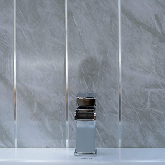 grey marble bathroom wall panels with chrome silver strips on shower wall panels id=35040