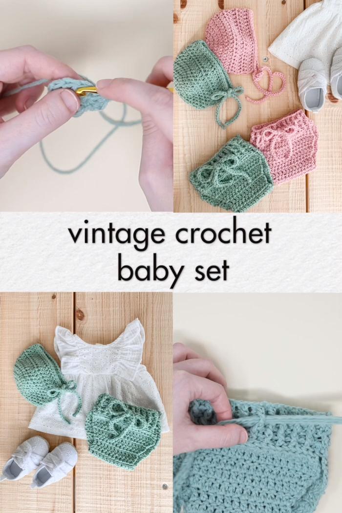 Photo of Crochet Baby Set – Vintage Bonnet & Bloomers – free patterns