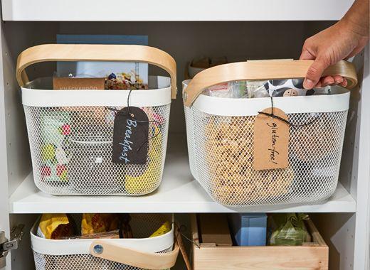 Use Ikea Risatorp White Steel Mesh Storage Baskets To