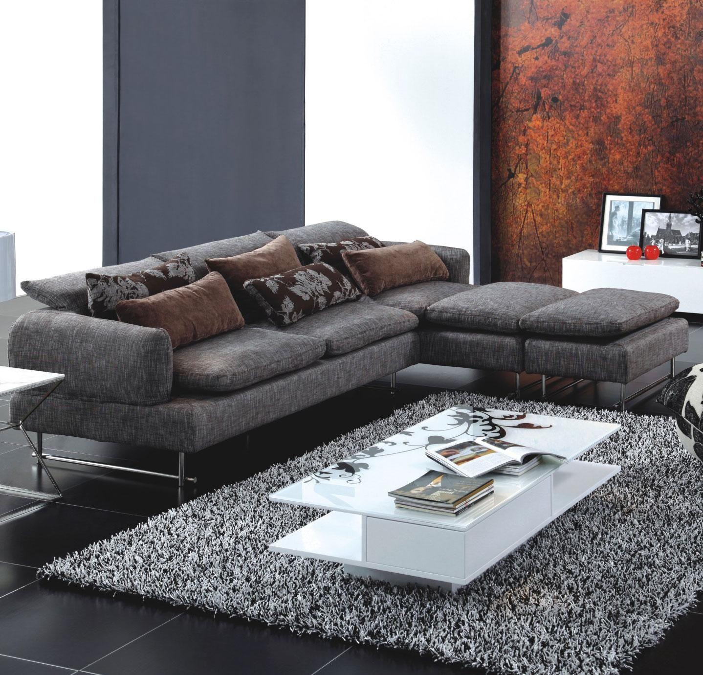 Tosh Furniture Zebrano Fabric Sectional Sofa Modern Furniture