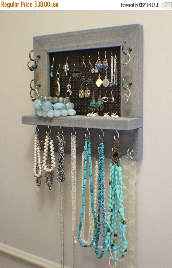 Rustic Weathered Grey Stained Wall Mounted Jewelry Organizer, Wall ...