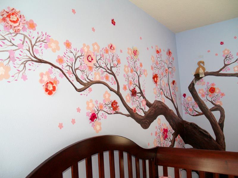 Wall Decoration Sky Blue Wall Color With Cherry Blossom Tree Mural Ideas Cherry Blossom Wall Mural Ideas Jpg Blue Wall Colors Wall Murals Interior Design Art