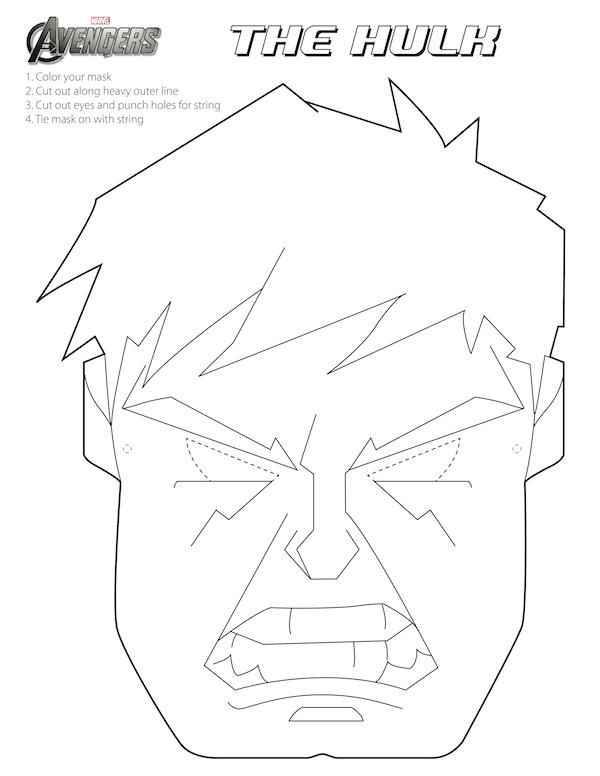 Vengadores: Máscaras para Colorear para Imprimir Gratis