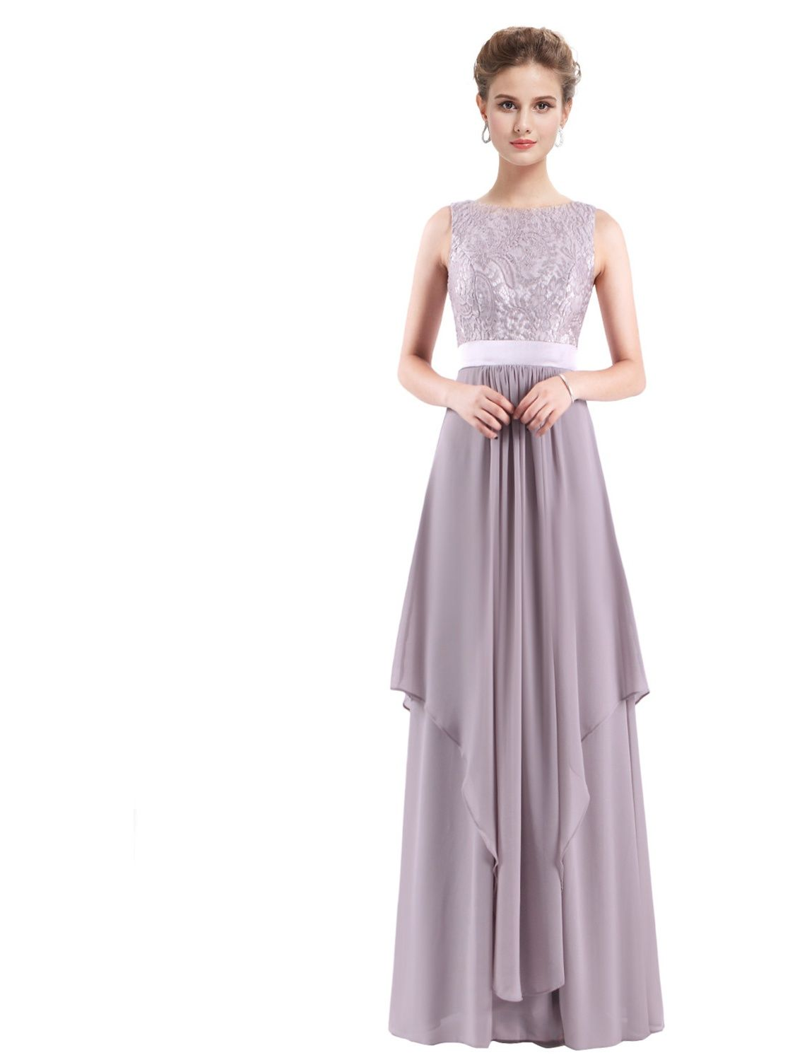 3426eb37bdd Ever-Pretty Women s Elegant Empire Waist Lace Flowy Black Tie Evening Prom  Party Cocktail Ball Gown for Women 08217 Grey US 8 Lace