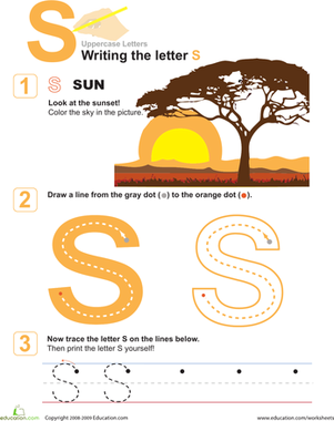 S is for Sun! Practice Writing the Letter S
