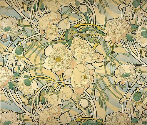 Alphonse mucha alphonse mucha peony and patterns for Art nouveau wallpaper uk
