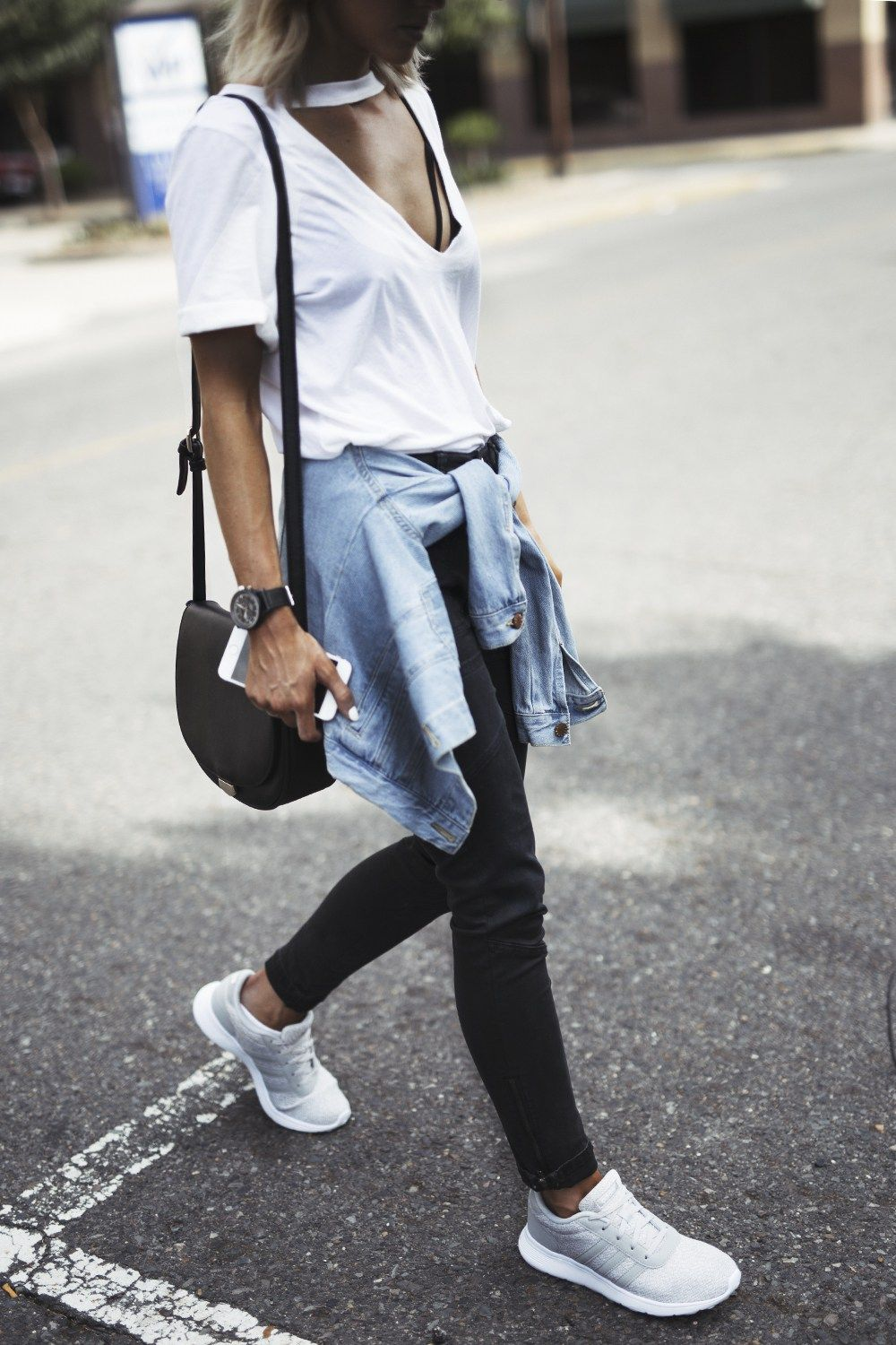 denim button up | White sneakers outfit