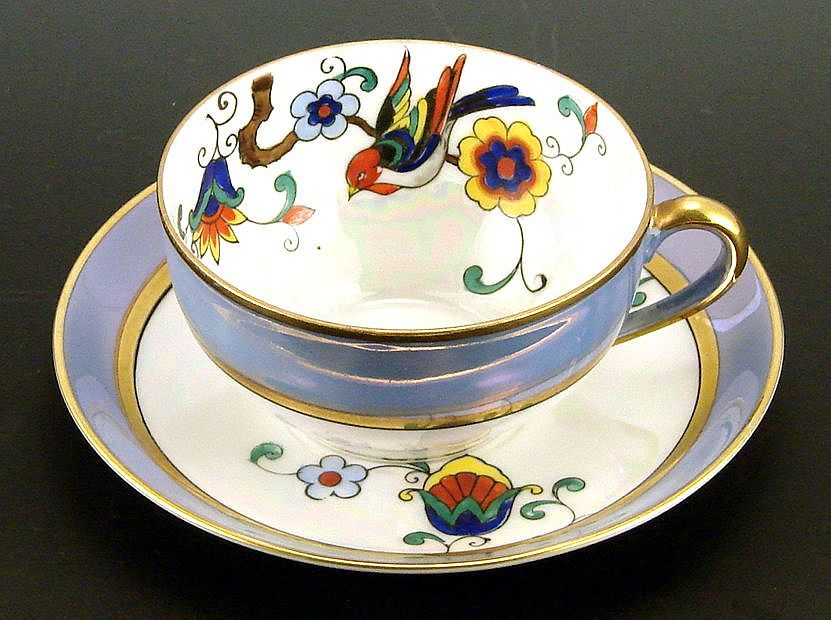 Noritake Lustre Cup and Saucer with Hand Painted Bird Flowers