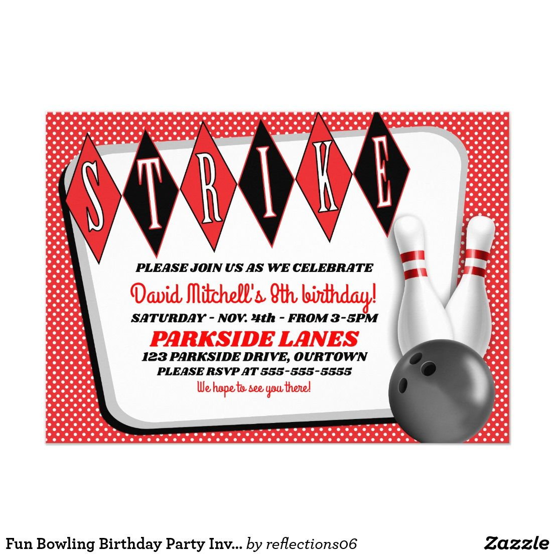 Fun Bowling Birthday Party Invitation | Pinterest | Party ...
