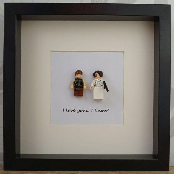 Star Wars wedding frame, Han Solo and Leia StarWars Frame Art, Lego ...