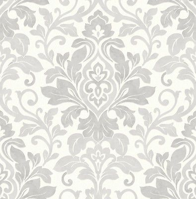 Mozart Silver Damask Wallpaper Arthouse In 2020 Damask Wallpaper