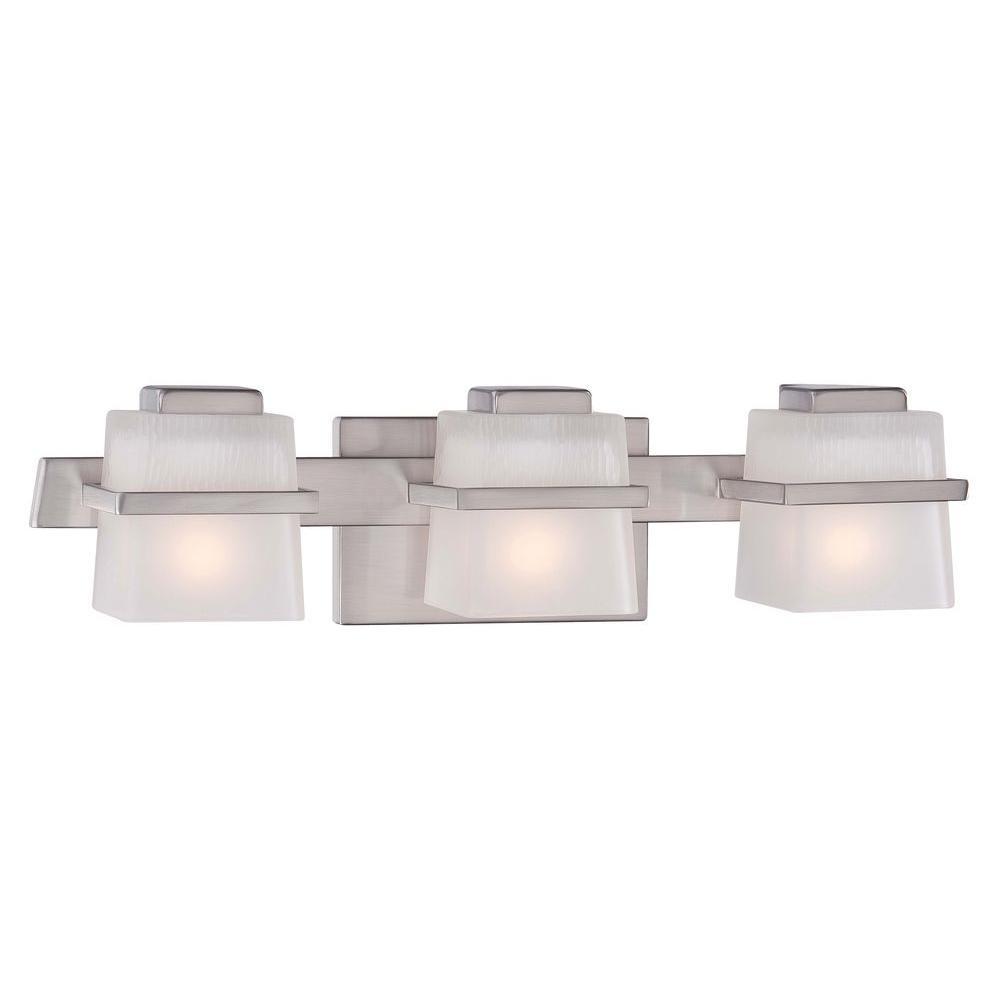 Hampton Bay Harlin Hills 3 Light Brushed Nickel Vanity Light 15303