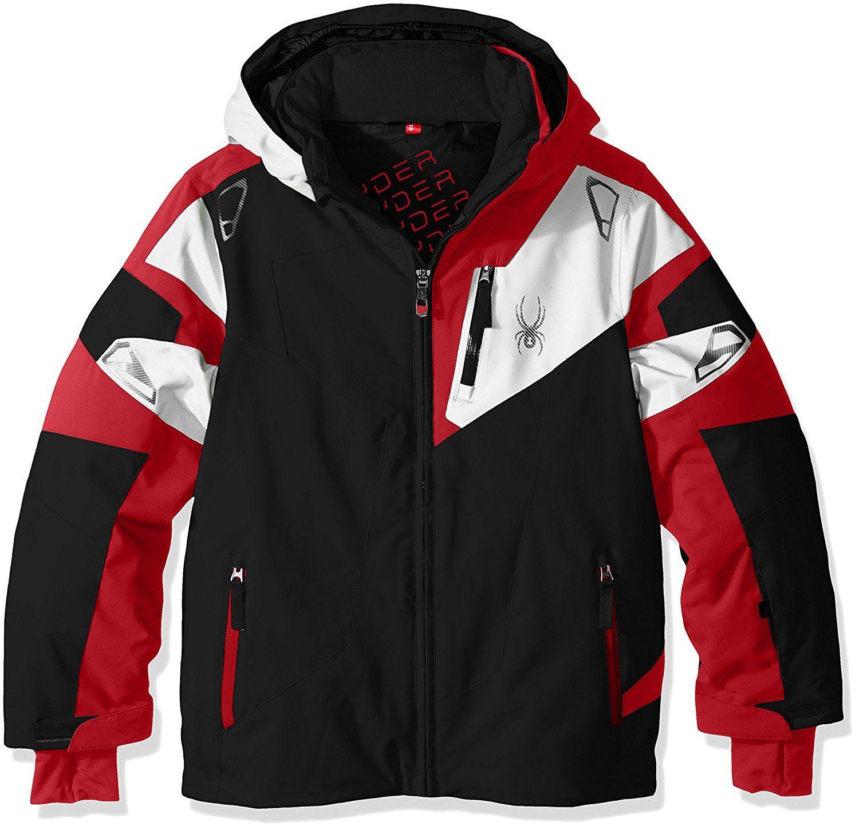 Veste de ski noir et rouge