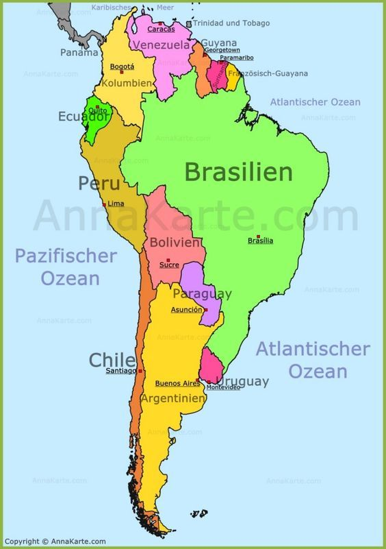 Südamerika Karte | sonstiges in 2019 | South america map, South ...