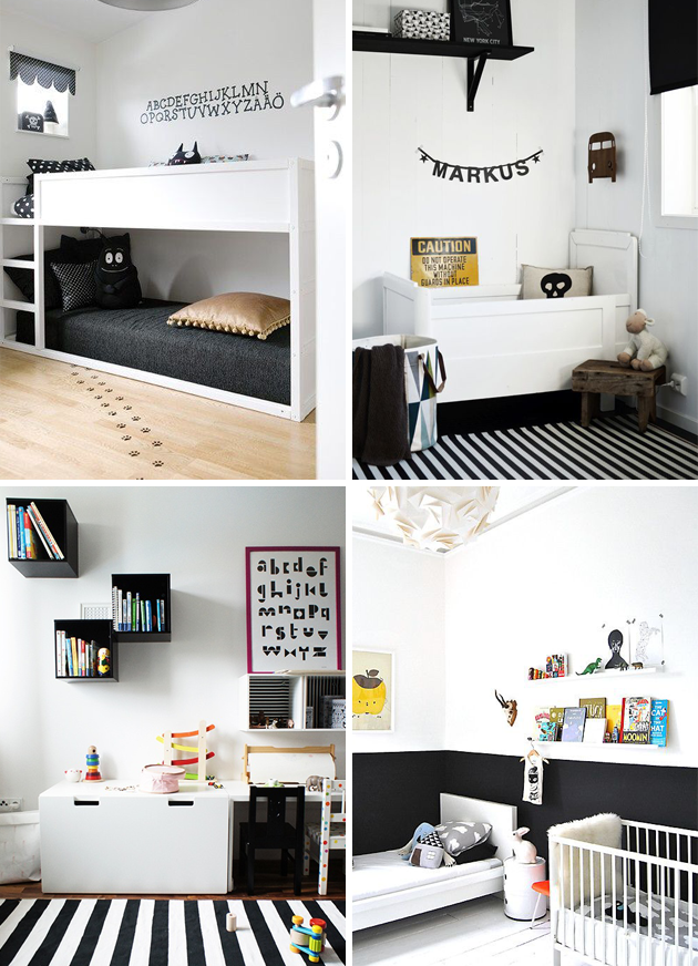 Black And White Monochrome Interior In Kids Bedrooms With A Pop If Colour My Sons Bedroom Inspiration