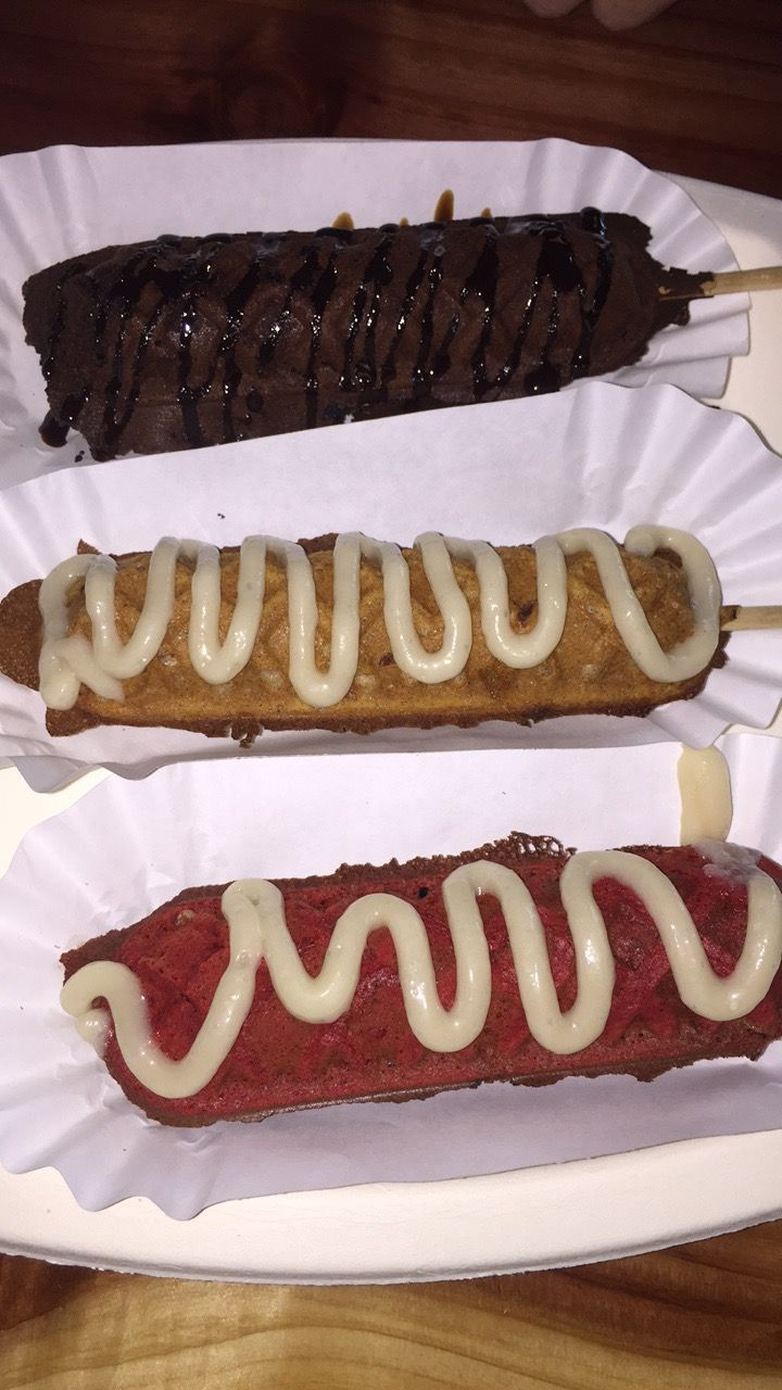 Batter up waffles on a stick chocolate cinnamon roll red