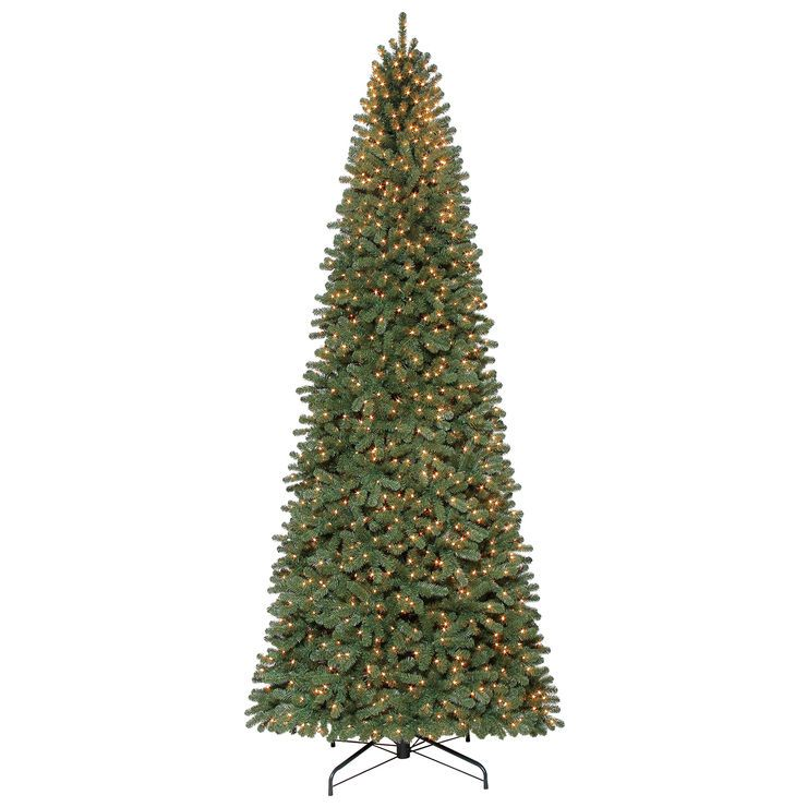 12 Ft Pre Lit Walker Spruce Christmas Tree With 1350 Clear Lights Slim Artificial Christmas Trees Skinny Christmas Tree Fir Christmas Tree