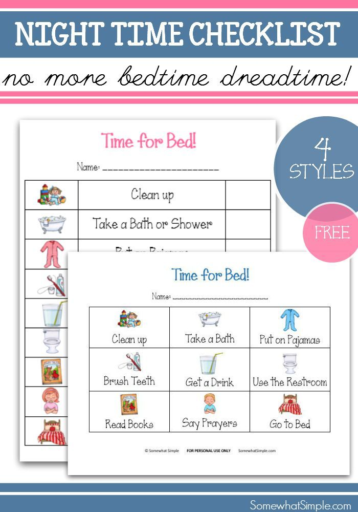 Playful image in bedtime routine chart printable