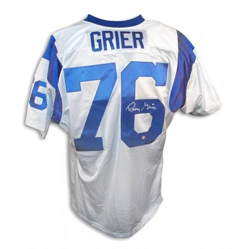 Rosey Grier Autographed Los Angeles Rams Throwback Jersey Sports Memorabilia Sports Jr Sports Jersey