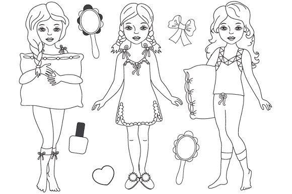 Vector Black White Pyjama Girl Set Girls Pajamas White Pajamas Girl Clipart