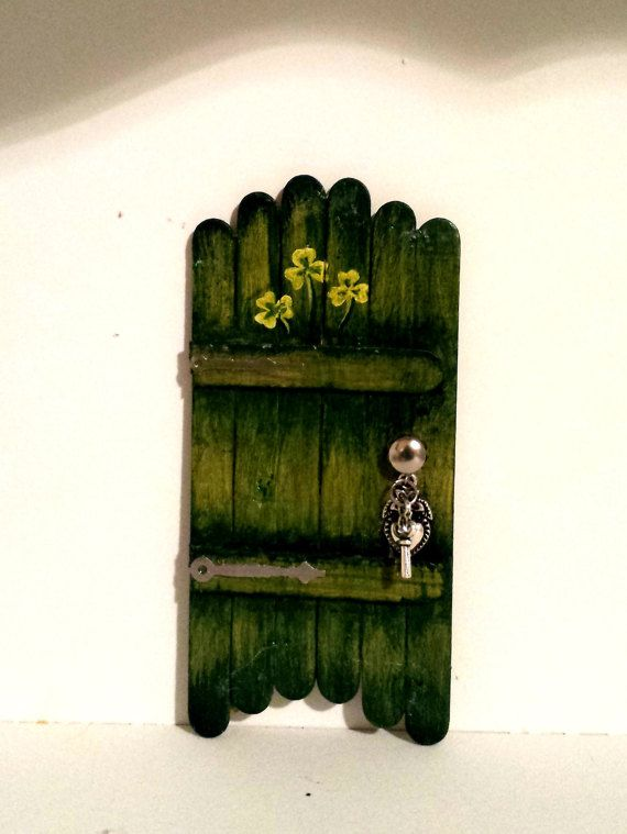 Green mossy color fairy door indoor use only shelf mantle for Irish fairy door ideas