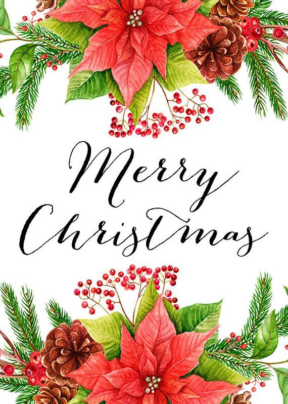 Merry Christmas Card Quote Prints Flowers Christmas Floral
