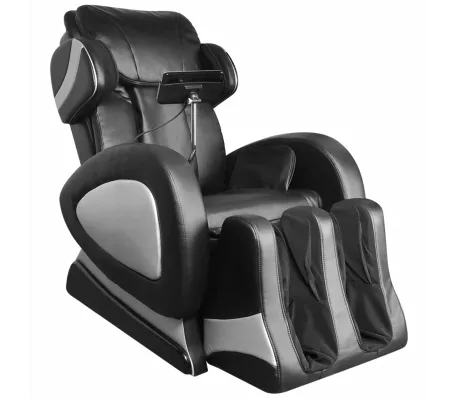 vidaXL Fauteuil de massage avec écran Noir Similicuir en