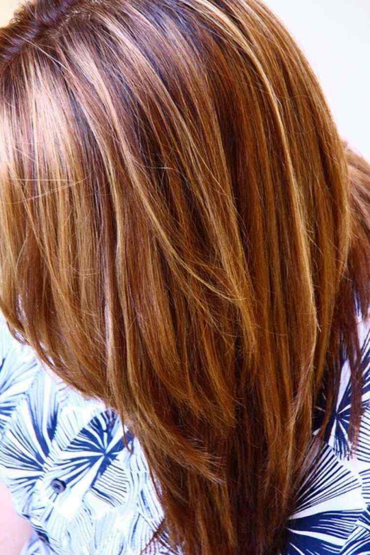 Cheveux couleur caramel mèches blondes et caramel ou
