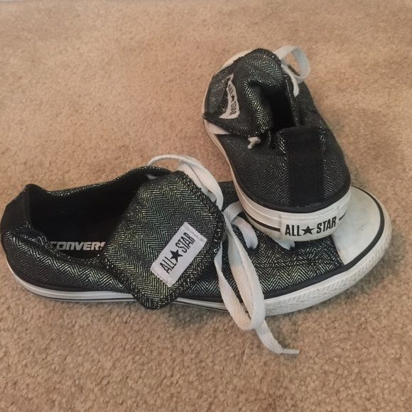 Converse Sneakers Converse All-Star sneakers!  Black with a silver sheen!! Size 4 fits like a 6!!! Converse Shoes Sneakers